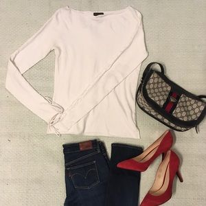 Club Monaco White Sweater with lace up arm detail
